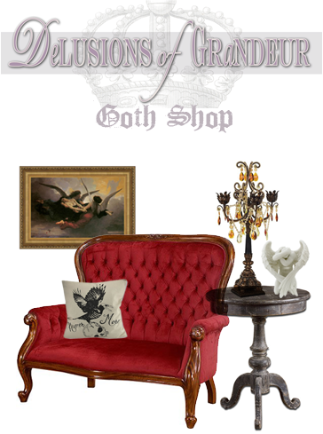 Delusions of Grandeur Goth shop product collage